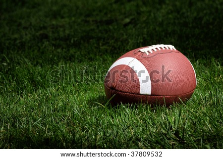 football rests on the field in the spotlight - stock photo