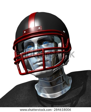 Football robot portrait - the future of professional sports. - stock photo