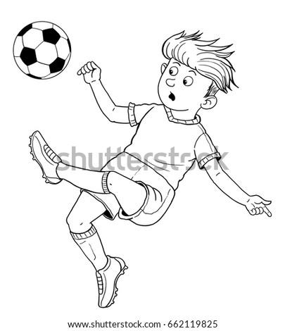 Football Soccer Cute Footballer Kicking Ball Stock Illustration ...
