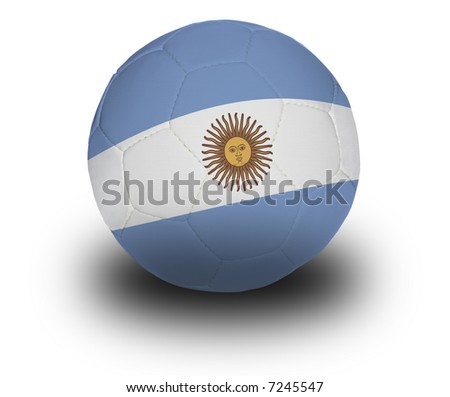 Football (soccer ball) covered with the Argentine flag with shadow on a white background.  Clipping path included.