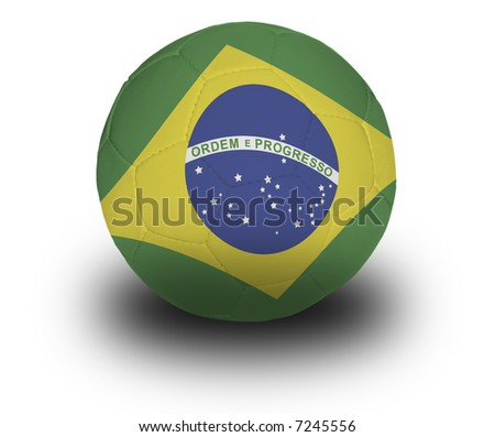 Football (soccer ball) covered with the Brazilian flag with shadow on a white background.  Clipping path included.