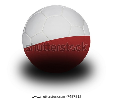 Football (soccer ball) covered with the Polish flag with shadow on a white background.  Clipping path included. - stock photo