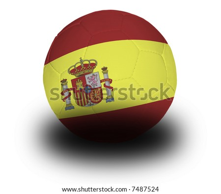 Football (soccer ball) covered with the Spanish flag with shadow on a white background.  Clipping path included. - stock photo