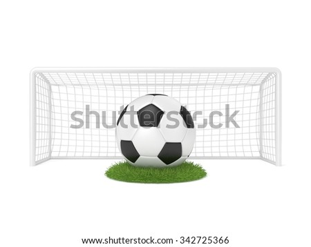 Football - soccer ball in front of goal gate on grass circle. 3D render illustration isolated on white background