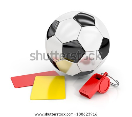 football (soccer ball), whistle and red and yellow cards isolated on white background. football concept. 3d render illustration - stock photo
