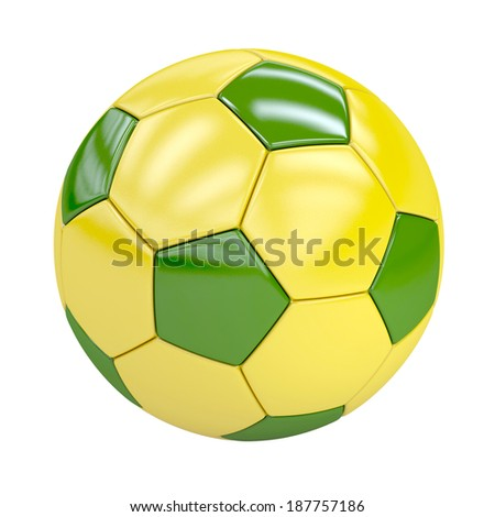 football (soccer ball) with brazilian colors isolated on white. 3d render. illustration - stock photo