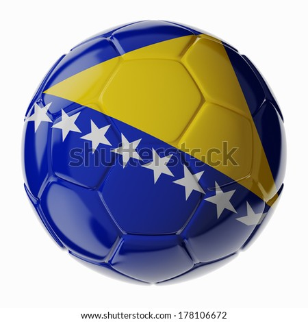 Football/soccer ball with flag of Bosnia and Herzegovina. 3D render - stock photo