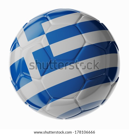 Football/soccer ball with flag of Greece. 3D render - stock photo