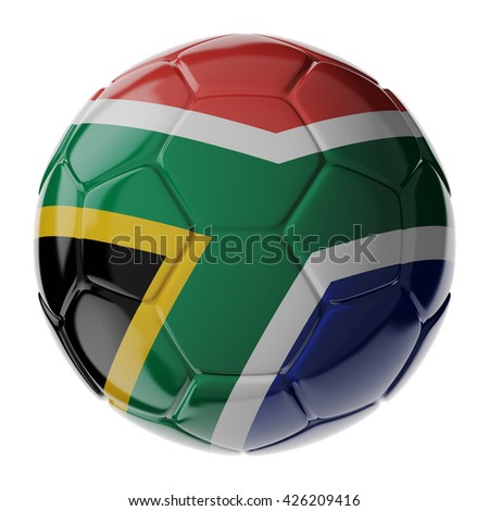 Football/soccer ball with flag of South Africa. 3D render - stock photo