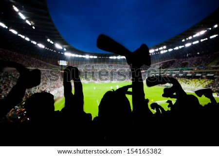 Football, soccer fans support their team and celebrate goal, score, victory. Full stadium - stock photo