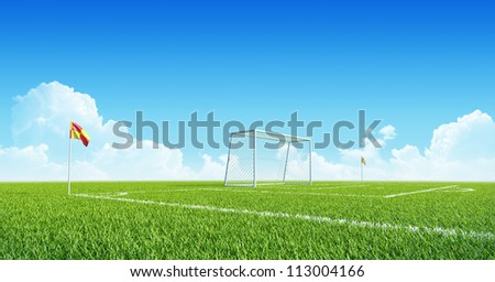 Football (soccer) goals on clean empty green field. Concept for team, championship, league poster / website design. One from collection. - stock photo
