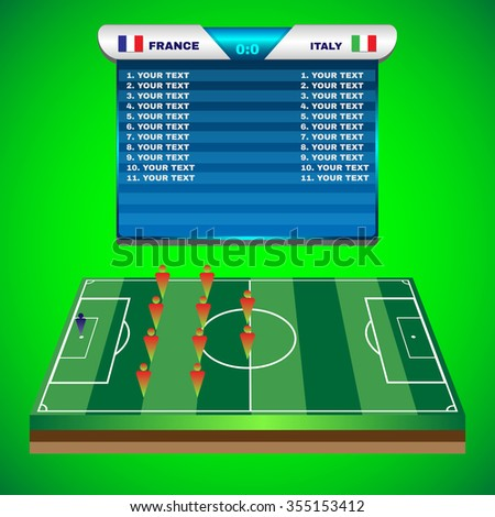 Football Soccer Match Statistics. Scoreboard with players and match score and other data. Football stadium playfield backdrop. France versus Italy Team. Digital background raster illustration.