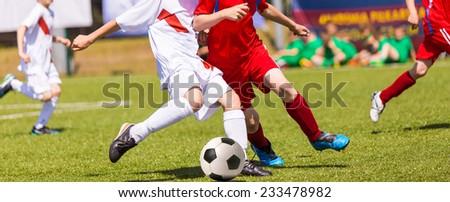 Football soccer match. Training and football soccer tournament. Boys playing football. - stock photo