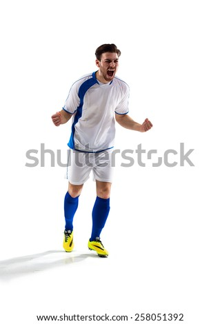 football soccer player in action  isolated on white background - stock photo