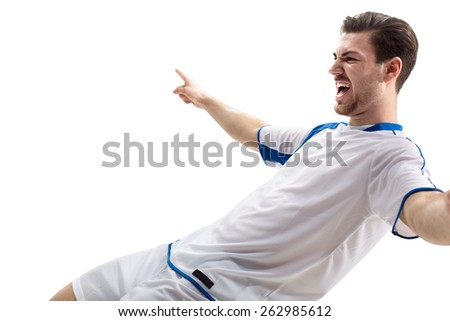 football soccer player in action  isolated white background - stock photo