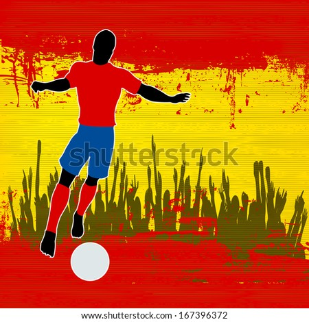 Football Spain, Soccer player over a grunged Spanish Flag and cheering crowd - stock photo