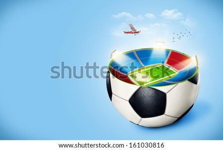Football stadium in a ball - stock photo