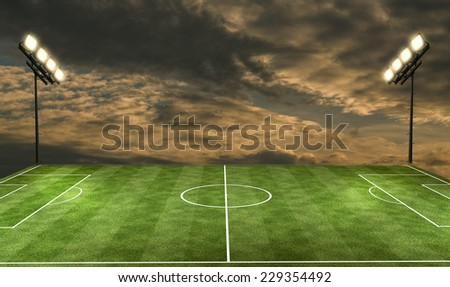 Football Stadium under the spotlights - stock photo