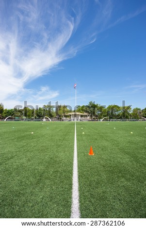 football stadium with clear sky in high school of Thailand - stock photo