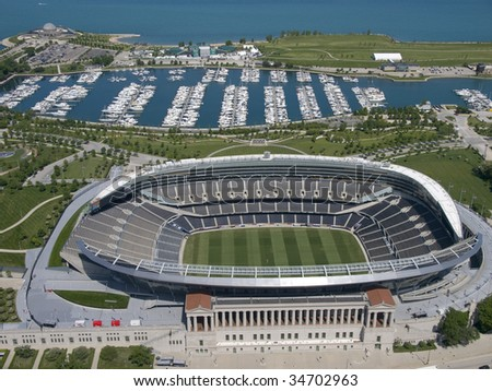 football stadium with harbor in background aerial - stock photo