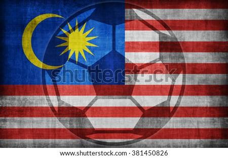 football symbol on Malaysia flag pattern,retro vintage style - stock photo