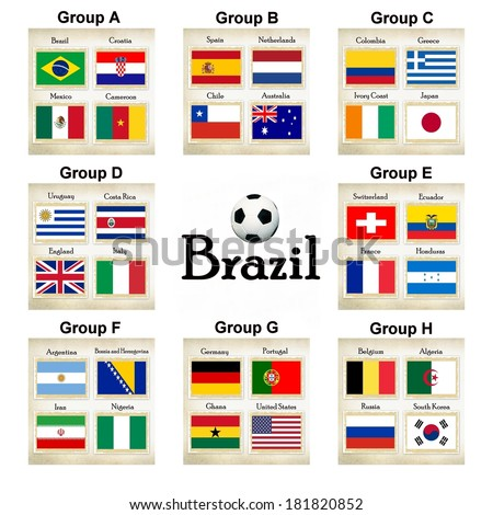 Football teams group selection for the soccer games in Brazil   - stock photo