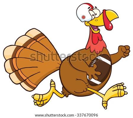 Football Turkey Bird Cartoon Character Running In Thanksgiving Super Bowl. Raster Illustration Isolated On White - stock photo