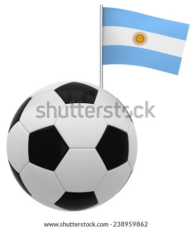 Football with flag of Argentina - stock photo