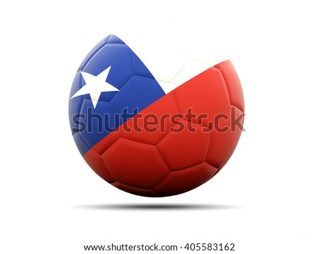Football with flag of chile. 3D illustration - stock photo