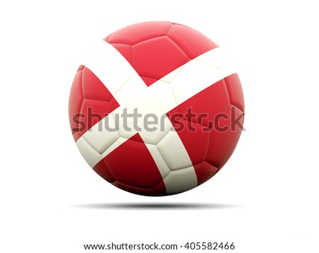Football with flag of denmark. 3D illustration