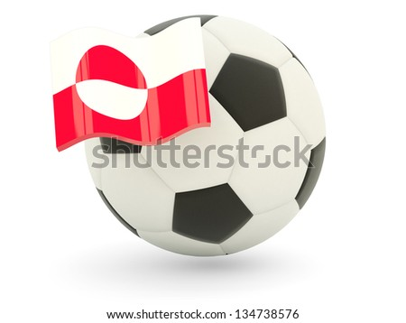 Football with flag of greenland isolated on white