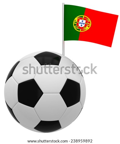Football with flag of Portugal - stock photo