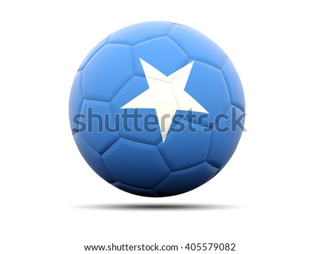 Football with flag of somalia. 3D illustration - stock photo
