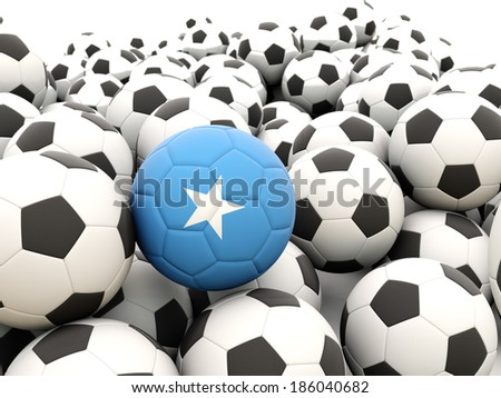 Football with flag of somalia in front of regular balls - stock photo