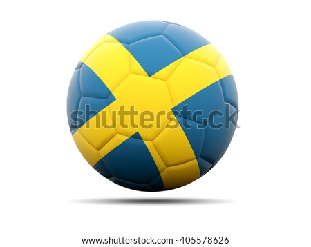 Football with flag of sweden. 3D illustration - stock photo