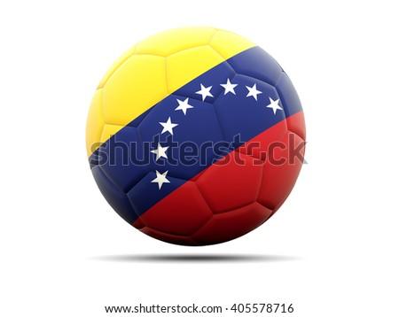 Football with flag of venezuela. 3D illustration - stock photo
