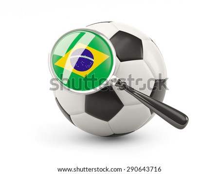 Football with magnified flag of brazil isolated on white