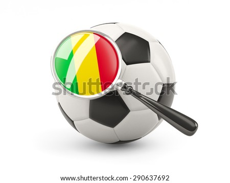 Football with magnified flag of mali isolated on white - stock photo