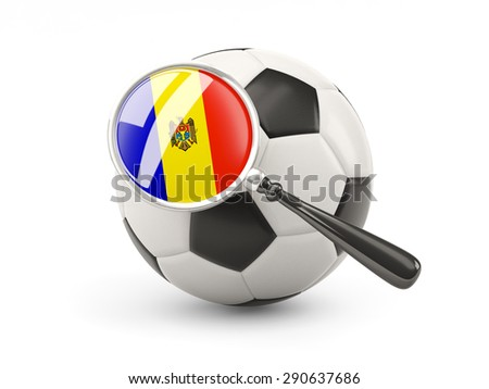 Football with magnified flag of moldova isolated on white - stock photo