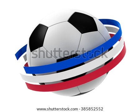 Football with stripes in the form of french flag isolated on white background, represents Euro 2016 - France football championship, three-dimensional rendering - stock photo