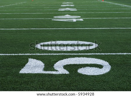 Football Yard Markers from Fifty Yard Line through End-zone - stock photo