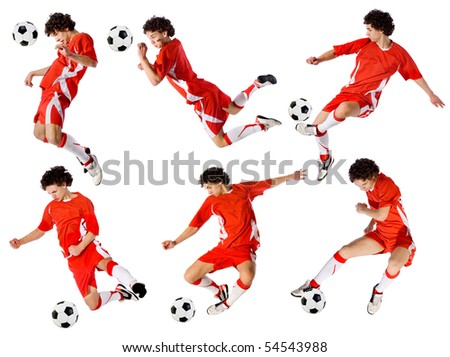 footballer beating on a ball in a jump on a white background.set of images - stock photo
