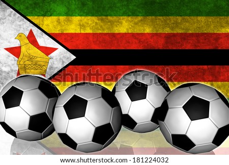 Footballs on top of flag - Zimbabwe