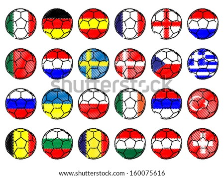 Footballs with Flags of Europe Pencil Style - stock photo