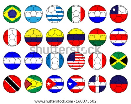 Footballs with Flags of the Americas - stock photo