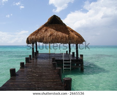 Footbridge and refuge in a caribbean lagoon