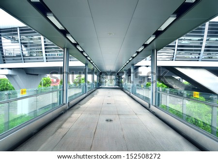 Footbridge corridor  - stock photo