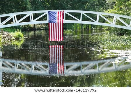Footbridge in Somesville, Mount Desert Island in Maine - stock photo