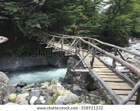 Footbridge in Torres del Paine National Park, Chile - stock photo