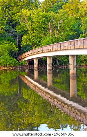 Footbridge to the Theodore Roosevelt Island. Roosevelt national memorial located on island in the Potomac River, Washington DC - stock photo